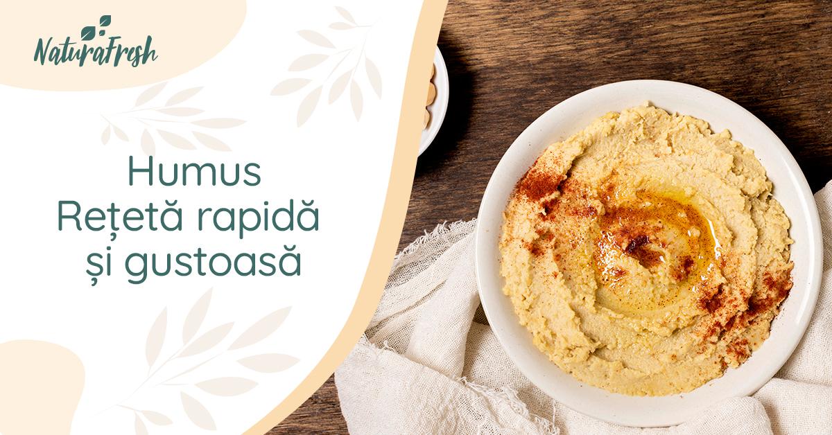 Humus rețetă rapidă și gustoasă - NaturaFresh - Sugestie de servire humus