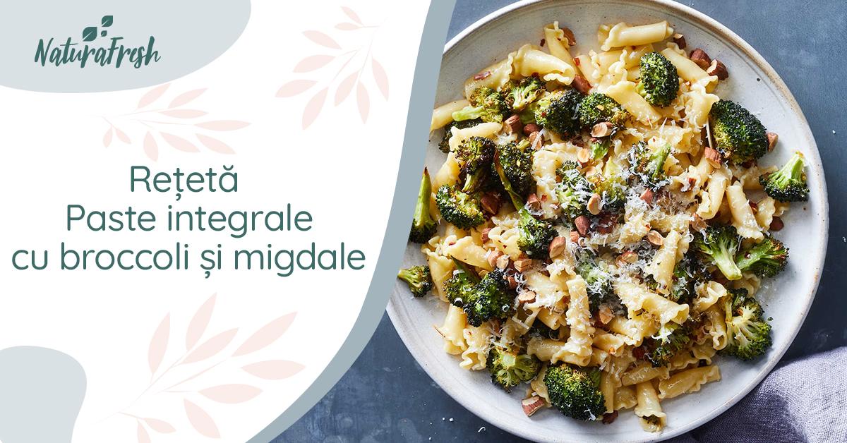 Rețetă migdale paste integrale cu broccoli și migdale - NaturaFresh - Paste integrale cu broccoli și migdale