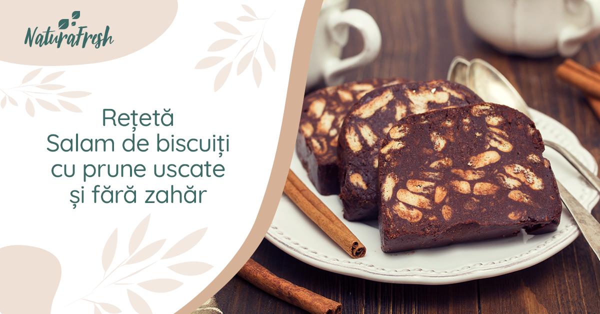 Rețetă - Salam de biscuiți cu prune uscate și fără zahăr - NaturaFresh - Rețetă Salam de biscuiți cu prune uscate și fără zahăr
