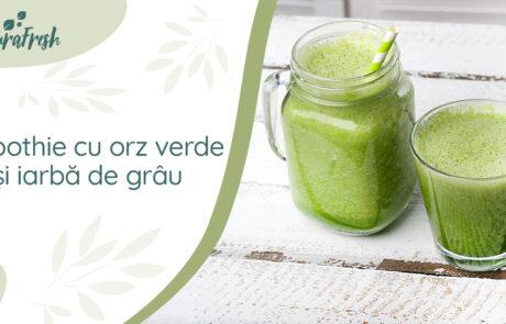 Smoothie cu orz verde și iarbă de grâu - NaturaFresh - Sugestie de servire smoothie cu orz verde